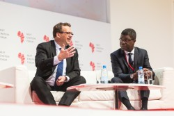 IDRC President Jean Lebel with AIMS CEO Thierry Zomahoun at Next Einstein Forum.jpg